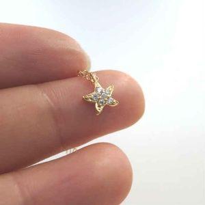 Gold Tiny Starfish Cubic Zirconia Pendant Necklace